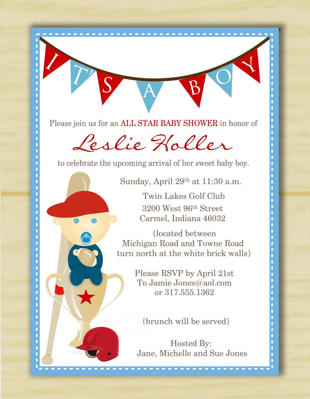 It\'s A Boy Sports Baby Shower Invitation (set Of 10) on Luulla